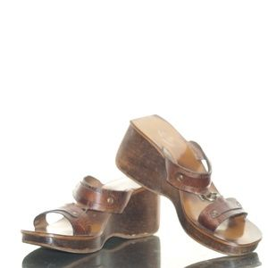 Vintage Retro FUNKY Wood Sole Leather Chunky Wedge